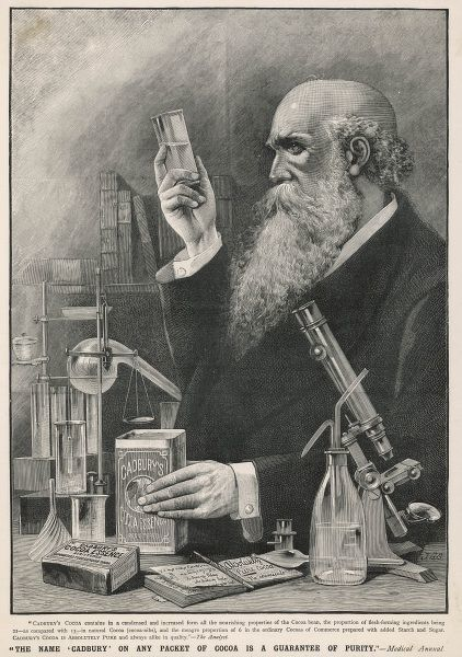 An archetypal scientist, with a flowing beard and surrounded by apparatus, studies a sample of Cadbury's Cocoa; he of course concludes that it is the finest available