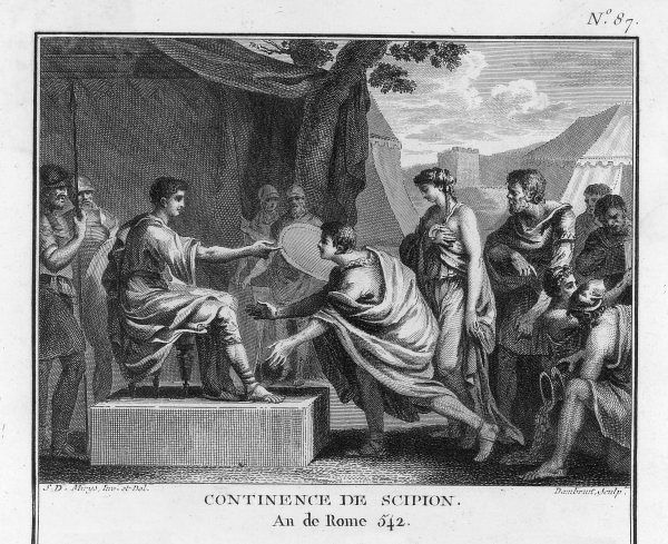PUBLIUS SCIPIO AFRICANUS campaigning in Spain in 210 BC he captures a Spanish princess but nobly refuses to take advantage of her