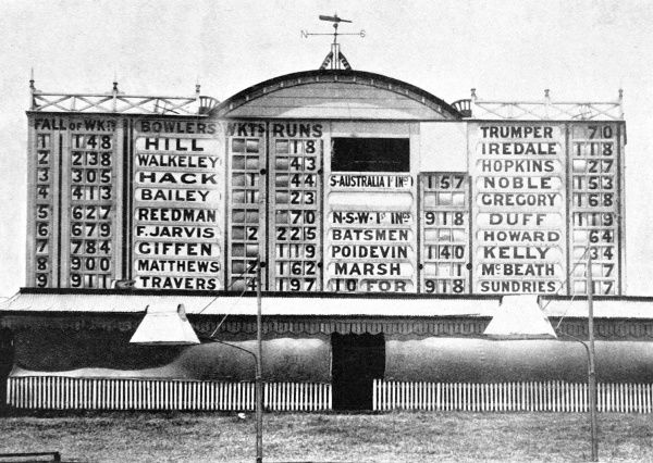 Photograph of the Sydney Cricket Ground Score-board during the Sheffield Shield match between New South Wales and South Australia, 8th January 1901