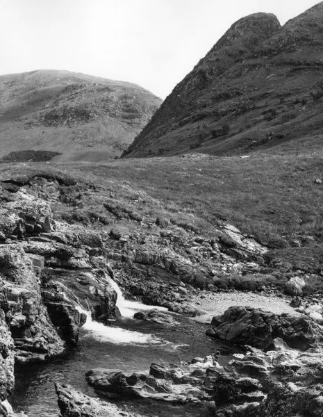 A scene in Glen Etive, Argyllshire, Scotland, showing part of Ben Cetlein, quoted in 'Deidre's Mountain' as being 'like a piece of black iron before us...' Date: 1960s