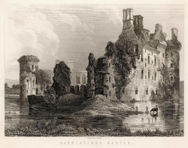 The substantial ruins of Caerlaverock Castle