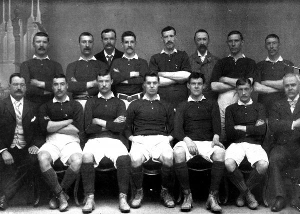 Photograph of the Scotland International Football Team selected for the game against England in 1897. On the 3rd April that year they beat England 2-1 in the British International Championship. The image shows: Back row, left to right: N. Smith (Rangers), J