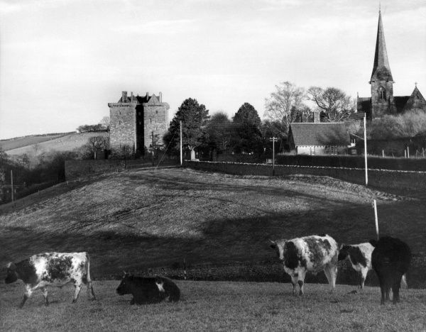 A scene at Middleton, Midlothian, Scotland, with its kirk and the 15th century Borthwick Castle, where Mary Queen of Scots and Bothwell made their retreat. Date: 1960s