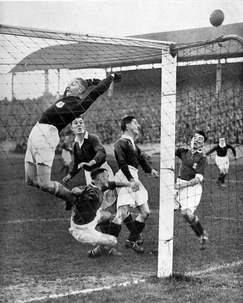 Photograph of some of the goal-mouth action that took place during the match between Scotland and Wales, in Glasgow, 1930