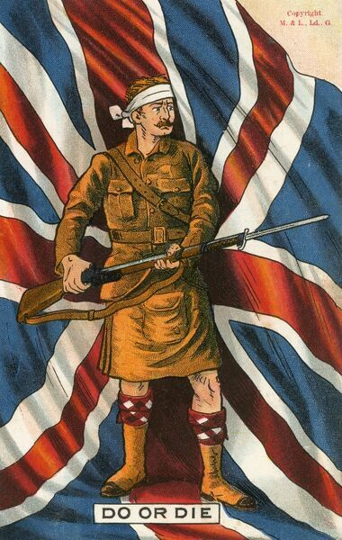 Scots Highlander soldier from the First World War on this patriotic postcard, bearing the caption 'Do or Die'. He stands, a wound on his brow bandaged, holding his rifle with fixed bayonet before a superb depiction of the Union Flag