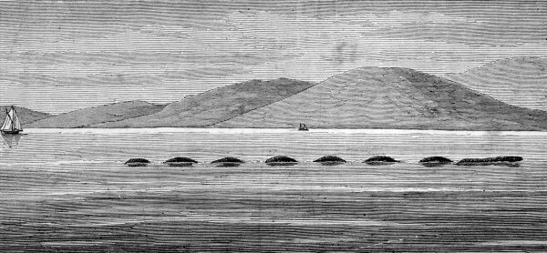 The reverends Twopeny and Macrae, and their two daughters, saw this creature in Loch Hourn, Scotland, for two days in succession Date: 20-21 August 1872