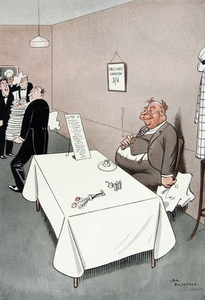 Humorous illustration by H. M. Bateman showing a rotund and satisfied Scottish man sitting at a restaurant table, having managed to eat everything on the set price lunch menu while a waiter removes a tall pile of empty plates