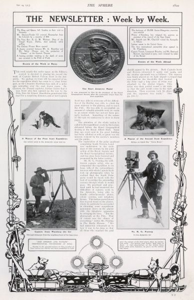 Page from the special Scott of the Antarctic memorial number featuring a photograph of the Scott Antarctic medal, presented to the team after returning from their first successful expedition in 1904, a photograph of Scott himself surveying ice