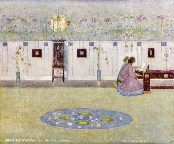 Two ladies sit at a piano in the 'White Boudoir' - a delightful example of art nouveau design at its most elegant, created by George Logan