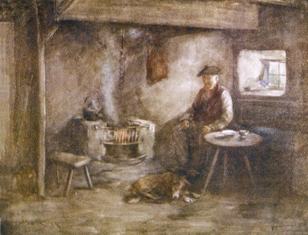 An old Scots peasant sits by the fire in the kitchen of his simple home