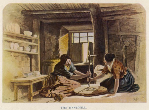 Two women use a handmill to grind flour in a Scottish cabin