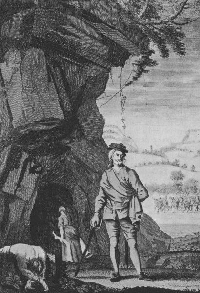 A Scottish highwayman at the entrance of his cave by the roadside. Date: 19th Century