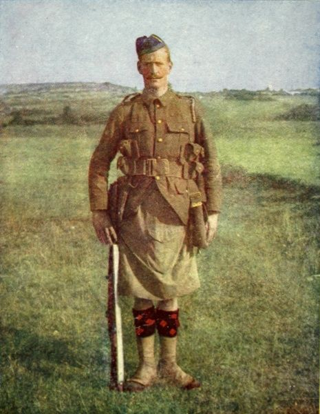 A photograph of a Scottish infantryman of the Black Watch Regiment. The colour image was published by the Illustrated London News to show their readers how the British khaki uniforms appeared against a European landscape