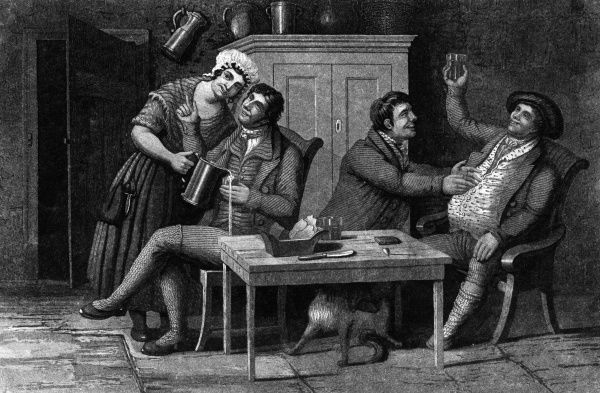 A merry scene inside a Scottish tavern. Two drunken fellows exchange pleasantries whilst another man chats with the serving maid, who unawares spills drink from her jug. Date: circa 1800
