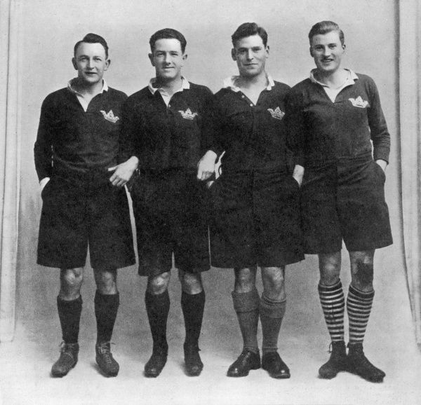 The Scottish rugby union three-quarter line, made up entirely of players from Oxford University, which contributed towards a Scottish grand slam in the Five Nations tournament of 1925. From left to right, A.C.Wallace, G.G.Aitken, G.P.S.Macpherson and I