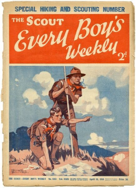 "Front cover of The Scout magazine, the ""only weekly official organ of the boy scouts"" featuring two enthusiastic and earnest looking boy scouts reading a map while out on a hike"