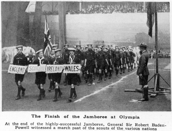 Sea Scouts from the British Isles march past Chief Scout, General Sir Robert Baden-Powell, part of a parade featuring scouts from the many nations who attended the first World Jamboree, based mainly at Olympia, London in the summer of 1920