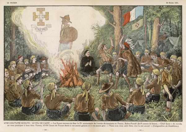 French Scouts' dance beside the bonfire at a camp