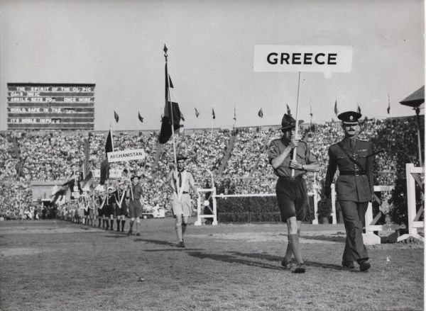 Scouts holding nationality signs during the opening ceremony of the 1948 London Olympics at Wembley Stadium