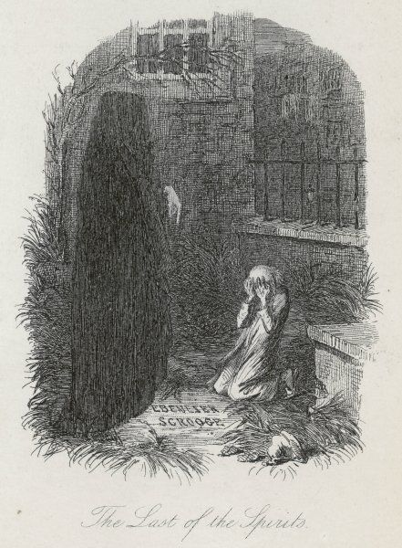 Scrooge is shown his tomb stone by the Last Spirit
