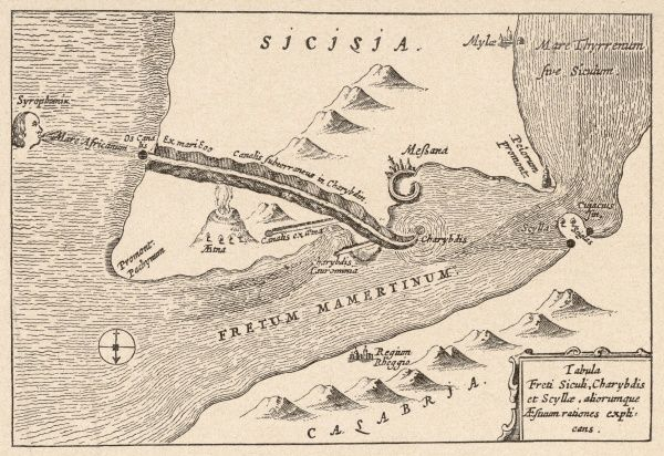The maelstroms of Scylla and Charybdis off the coast of Sicily