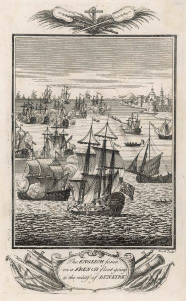 The English fleet seizes on a French fleet sailing to the relief of Dunkerque