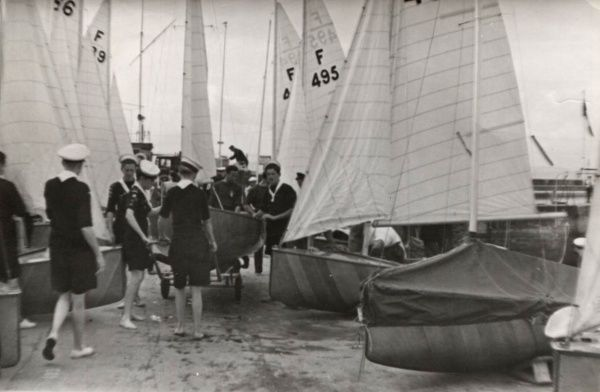 Sea Scouts assisting with the boats at Torquay during the 1948 Olympics