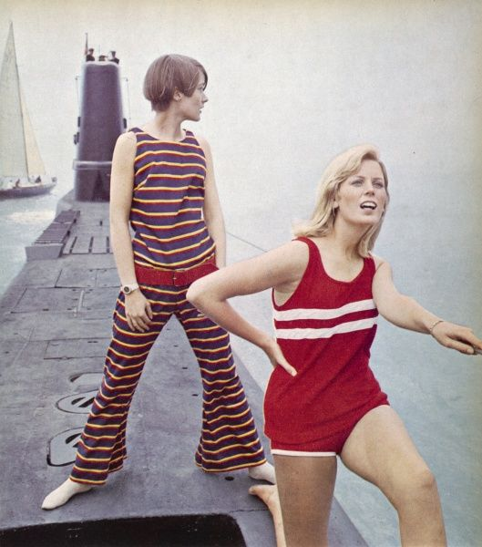 Some suggested high fashion outfits for Cowes during the sixties