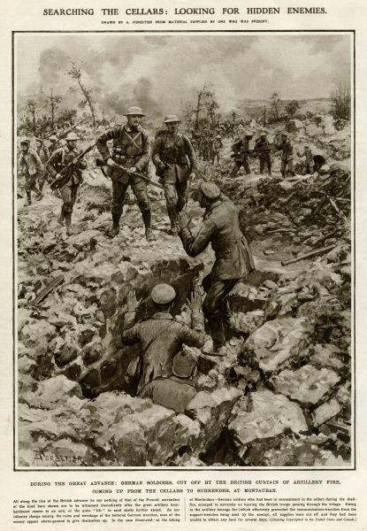 During the Great advance, German soldiers, cut off by the British curtain of artillery fire, without food for several days, surrender from the cellars knowing that the British troops are approaching, at Montauban. Date: 1916