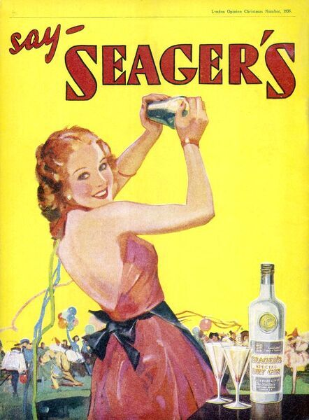 A red-headed woman in a fetching pink party dress gets into the party spirit by mixing some cocktails with Seager's Gin