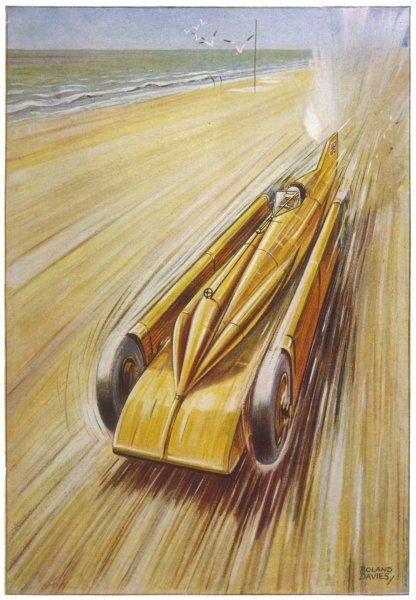 Henry Seagrave drives his 'Golden Arrow; at Daytona Beach, Florida, achieving a speed of 372 km/h