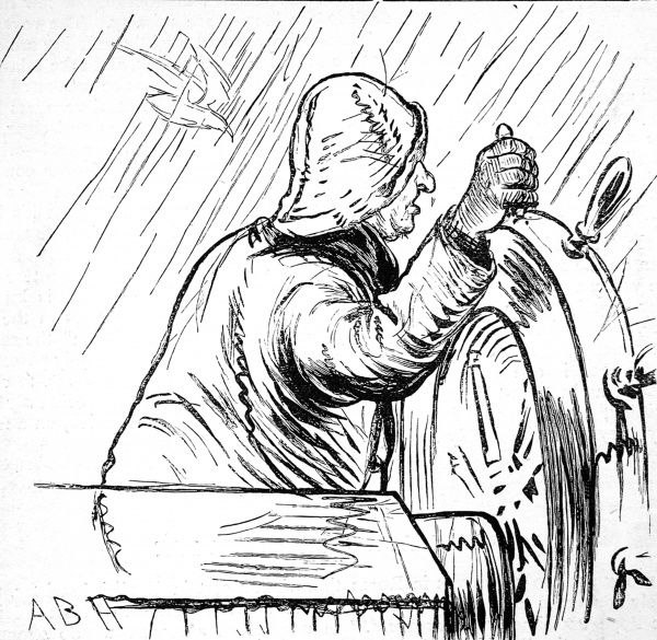 Illustration showing a sailor, dressed in souwester and waterproof, steering his ship through bad weather on the Atlantic crossing, c.1870