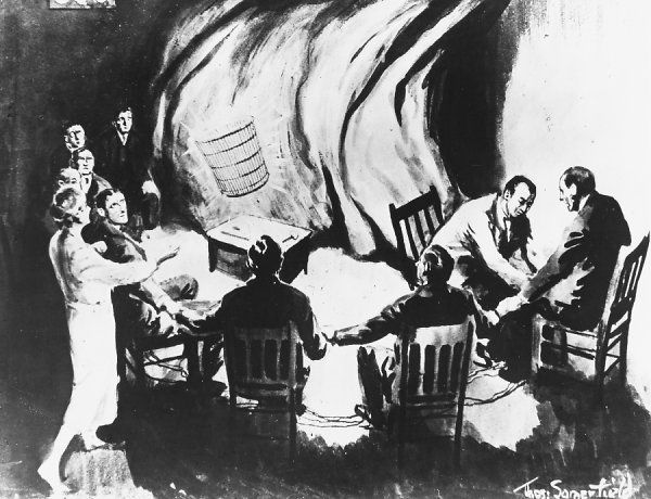 Artist's impression of a seance with Austrian medium Rudi Schneider at London, under the supervision of Harry Price : the reality was seldom if ever as dramatic as this !
