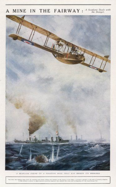 A seaplane fires at a breakaway mine to eliminate its threat to nearby ships