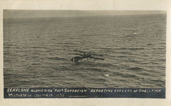 Seaplane, landed alongside HMS Royal Sovereign, reporting the effects of shell fire on Mudanya - July 6th 1920