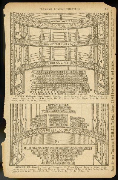 Plans showing the layout of seating available for booking at the Lyceum and Strand Theatres with prices ranging from Boxes to the Gallery via stalls, circles & the pit