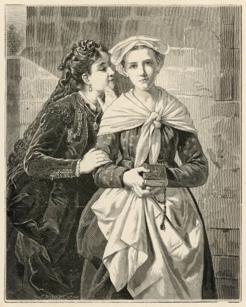 A woman whispers something into the ear of a humbly dressed servant who carries a bible. The painting is entitled 'Peine Perdue', meaning a waste of time, so perhaps she is referring to reading the bible and religion as a whole