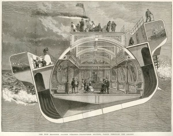 Bessemer's design for a cross- channel paddle steamer is designed to reduce passenger discomfort by enabling them to stay level no matter how much the boat herself rolls