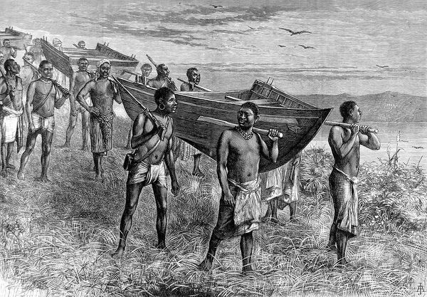 Engraving of a sectional boat, used by Sir Henry Morton Stanley (1841-1904) during his 1874 expedition to central Africa, being carried by a number of local porters. During this expedition Stanley charted Lake Tanganika, passed down the Lualaba to Nyangwe