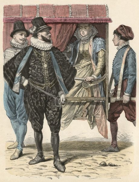 Two gentlemen of Napoli (Italy) speak with a lady carried in a litter Date: 1583