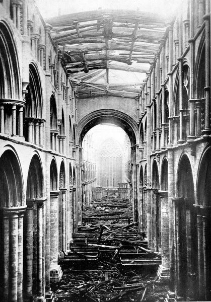 Photograph of the Nave of Selby Abbey taken after the fire of 20th October 1906