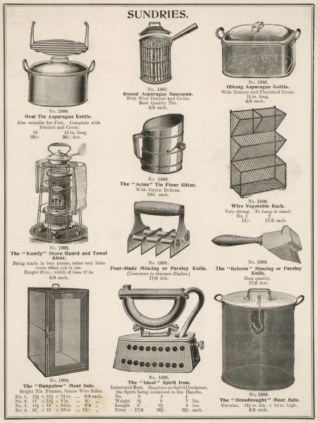 A selection of kitchen equipment including kettles, flour sifters, towel airers, vegetable racks and meat safes