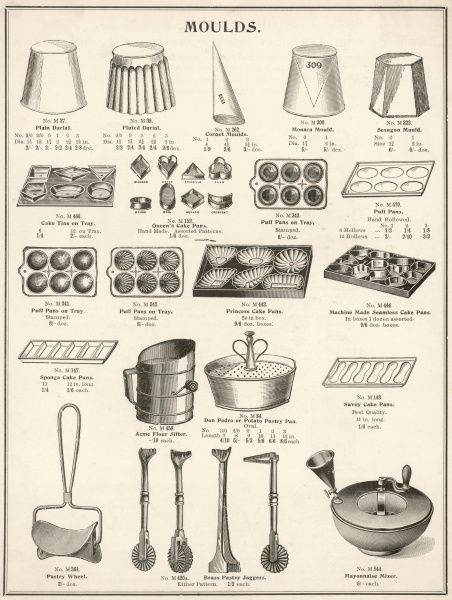 A selection of moulds, pans and other kitchen equipment