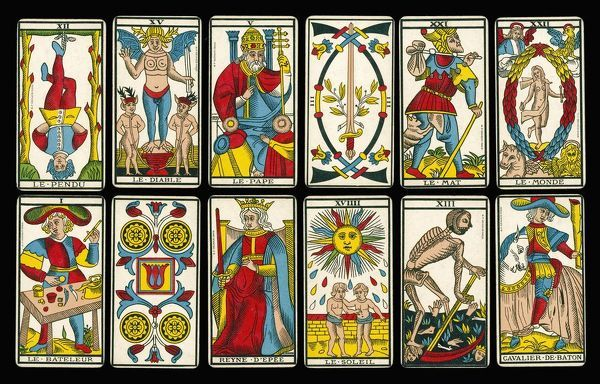 A selection of tarot cards from the traditional Marseille pack. (2 of 2)