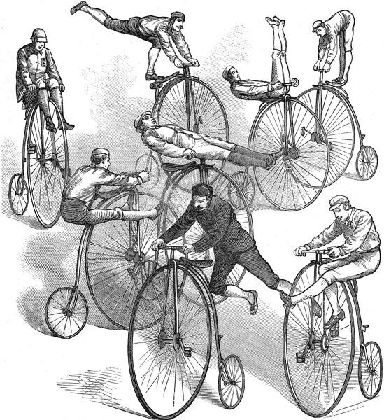 Engraving showing a number of adventurous ways to ride a 'penny farthing' bicycle; as demonstrated at a bicycle meeting held in Boston, USA, 1881