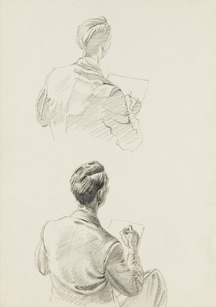 Raymond Sheppard self portrait - head and shoulders studies (back view) whilst drawing