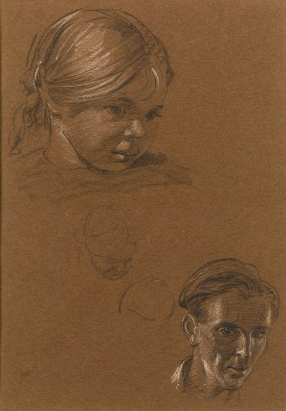 A study of the head of a young girl and self-portrait (both in pastel) by Raymond Sheppard