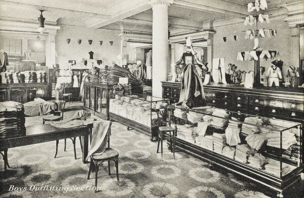 Selfridges & Co, Oxford Street, London - Boy's Outfitting Section. Founded by American-born retail magnate Harry Gordon Selfridge (1858 - 1947), the Flagship store in Oxford Street was opened in 1909. Selfridge was an innovator in the fields of marketing