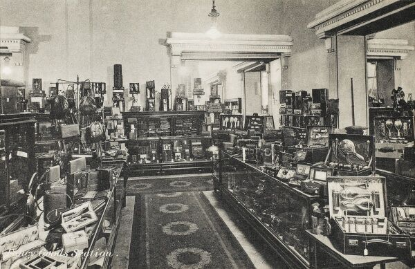 Selfridges & Co, Oxford Street, London - Fancy Goods Section. Founded by American-born retail magnate Harry Gordon Selfridge (1858 - 1947), the Flagship store in Oxford Street was opened in 1909. Selfridge was an innovator in the fields of marketing