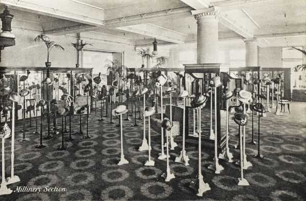 Selfridges & Co, Oxford Street, London - Millinery Section. Founded by American-born retail magnate Harry Gordon Selfridge (1858 - 1947), the Flagship store in Oxford Street was opened in 1909. Selfridge was an innovator in the fields of marketing
